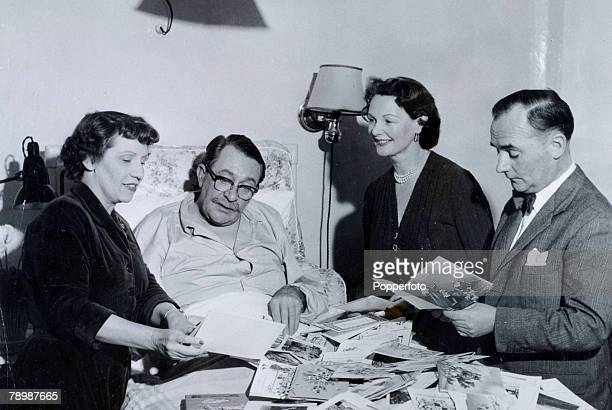 1953 BBC personality Gilbert Harding pictured in hospital recovering from double pneumonia and visited by leftright Anona Winn Elizabeth Allan and...