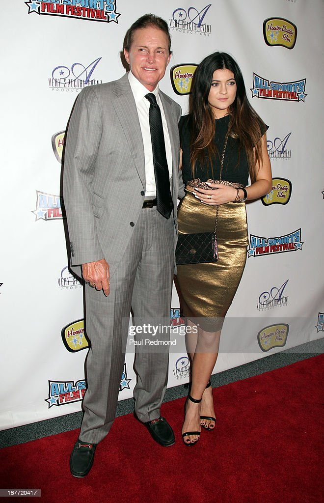 TV personalities Bruce Jenner and Kylie Jenner arrives at the All Sports Film Festival closing ceremony honoring Bruce Jenner at El Portal Theatre on November 11, 2013 in North Hollywood, California.