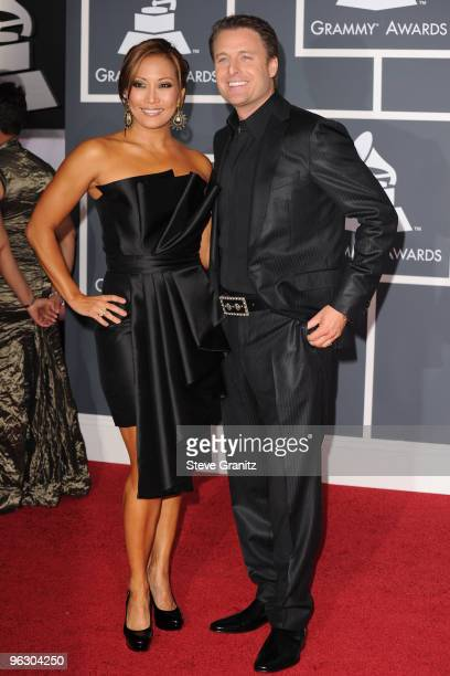 TV personalities Carrie Ann Inaba and Chris Harrison arrive at the 52nd Annual GRAMMY Awards held at Staples Center on January 31 2010 in Los Angeles...