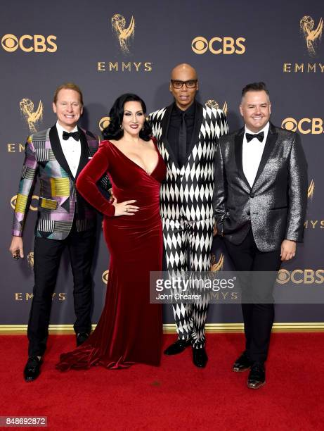 TV personalities Carson Kressley Michelle Visage RuPaul and Ross Mathews attend the 69th Annual Primetime Emmy Awards at Microsoft Theater on...