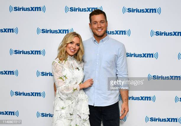 TV personalities Cassie Randolph and Colton Underwood of The Bachelor season 23 visit SiriusXM Studios on May 3 2019 in New York City