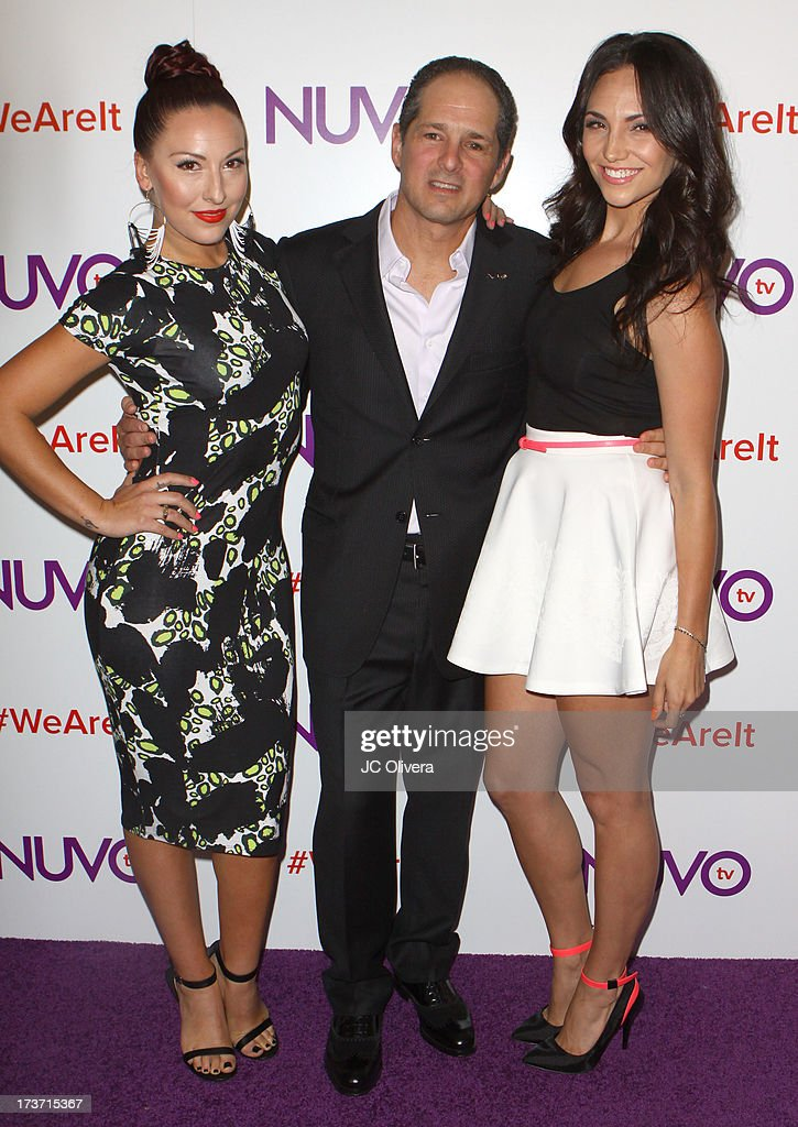 TV personalities Cat Rendic (L), Tera Perez (R) and Michael Schwimmer attend NUVOtv Network Launch Party at The London West Hollywood on July 16, 2013 in West Hollywood, California.