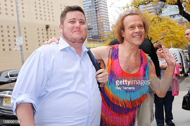 TV personalities Chaz Bono and Richard Simmons pose for photos at the Wendy Williams Show taping at the AMV Studios on November 15 2011 in New York...