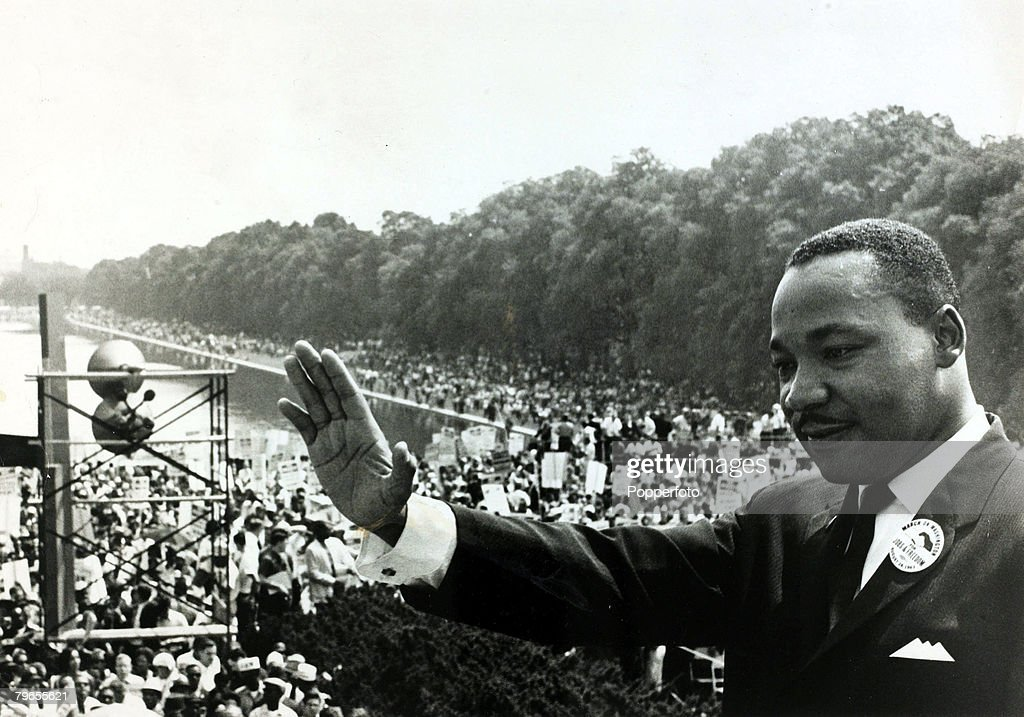 August 1963, Washington DC, Black Civil Rights leader Martin Luther King pictured on the steps of the Lincoln Memorial during the massive demonstration