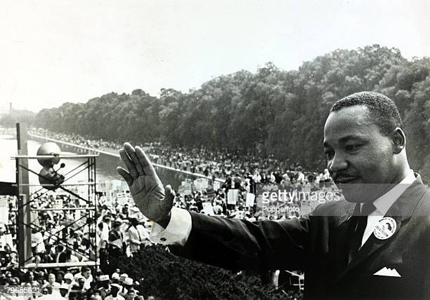 August 1963 Washington DC Black Civil Rights leader Martin Luther King pictured on the steps of the Lincoln Memorial during the massive demonstration