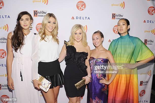 TV Personalities Claudia Martinez Reardon Liz Margulies Amy Poliakoff Maggie Schaffer and Angela Pham attend the GLAAD Manhattan Summer Event at...