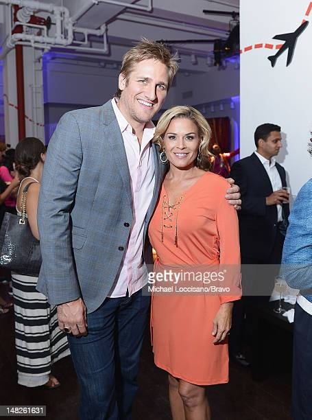 Personalities Curtis Stone and Cat Cora attend the Around The World in 80 Plates finale event at Metropolitan Pavilion on July 12 2012 in New York...