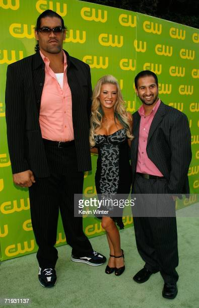 TV personalities Dalip The Great Khali Singh Ashley Massaro and Shawn Daivari arrive at the CW Launch Party at the Warner Bros Studio on September 18...
