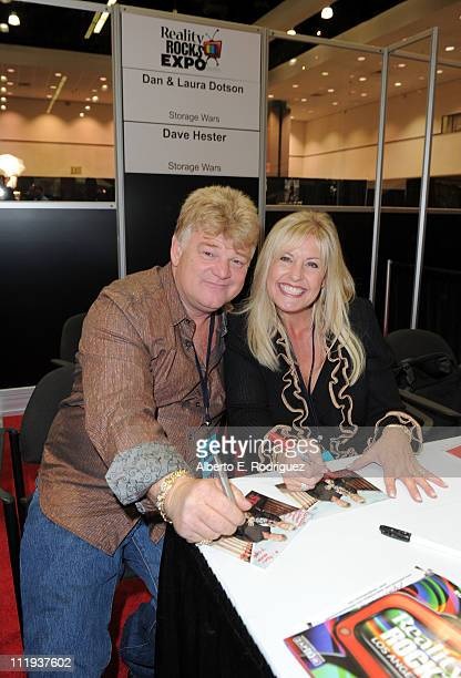 TV personalities Dan Dotson and Laura Dotson attend Reality Rocks Expo Day 1 at the Los Angeles Convention Center on April 9 2011 in Los Angeles...