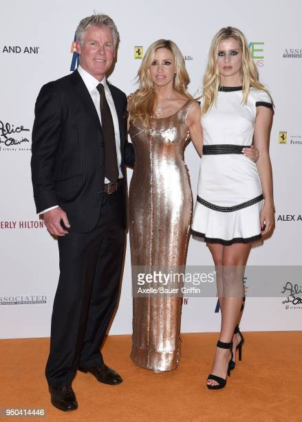TV personalities David C Meyer Camille Grammer and Mason Olivia Grammer arrive at the 25th Annual Race to Erase MS Gala at The Beverly Hilton Hotel...