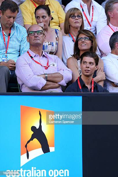 Personalities David Koch and Natalie Barr watch the mens final between Andy Murray of Great Britain and Novak Djokovic of Serbia during day fourteen...