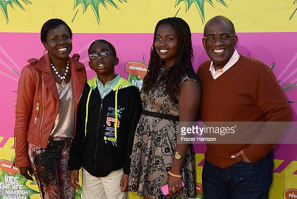 TV personalities Deborah LeeRoberts and Al Roker with children and Nicholas Roker and Leila Roker arrive at Nickelodeon's 26th Annual Kids' Choice...