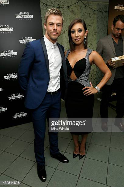 TV personalities Derek Hough and Cheryl Burke in the green room at the 2014 Young Hollywood Awards brought to you by Samsung Galaxy at The Wiltern on...
