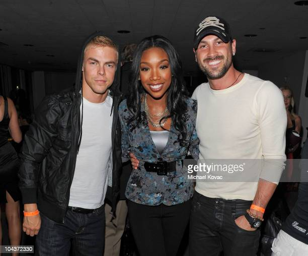 """Personalities Derek Hough, Brandy, and Maksim Chmerkovskiy attend the 2nd Annual """"Get Lucky For Lupus!"""" Benefit hosted by Lupus LA at Petersen..."""
