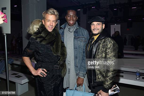 TV Personalities Derek Warburton Miss J Alexander and Phillip Bloch pose at the Georgine Fall 2016 fashion show during New York Fashion Week The...