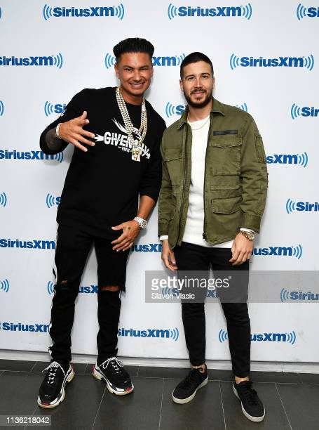 Personalities DJ Pauly D and Vinny Guadagnino visit SiriusXM Studios on April 10, 2019 in New York City.