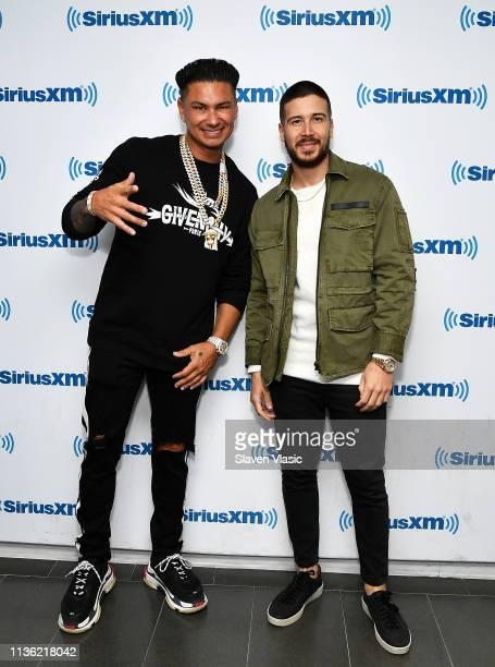 TV personalities DJ Pauly D and Vinny Guadagnino visit SiriusXM Studios on April 10 2019 in New York City