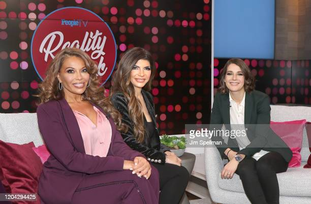 """Personalities Dolores Catania, Teresa Guidice and Daryn Carp on the set of People's """"Reality Check"""" on February 05, 2020 in New York, United States."""