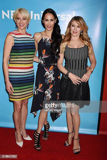 TV personalities Dorinda Medley Ramona Singer and Julianne Wainstein arrive at the 2016 Summer TCA Tour NBCUniversal Press Tour at the Four Seasons...