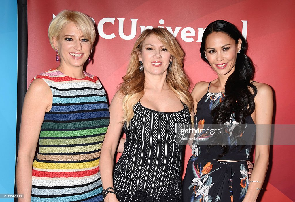 TV personalities Dorinda Medley, Ramona Singer and Julianne Wainstein arrive at the 2016 Summer TCA Tour - NBCUniversal Press Tour at the Four Seasons Hotel - Westlake Village on April 1, 2016 in Westlake Village, California.