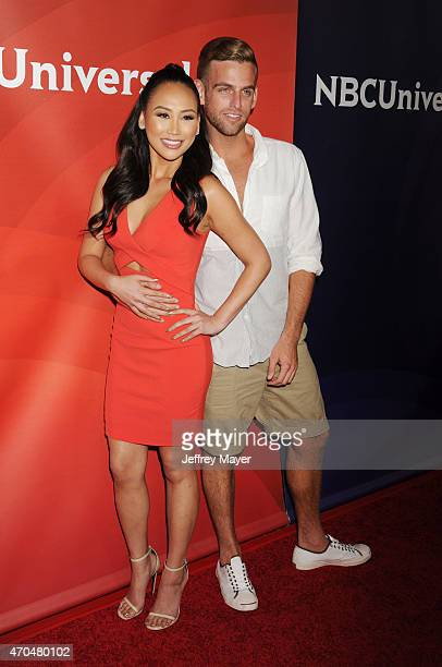 TV personalities Dorothy Wang and Jonny Drubel attend the 2015 NBCUniversal Summer Press Day held at the The Langham Huntington Hotel and Spa on...