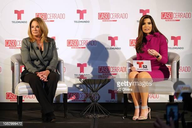 TV personalities Dra Ana Maria Polo and Alejandra Ortiz Chagin onstage during Telemundo's 'Caso Cerrado Edicion Estelar' new season press conference...