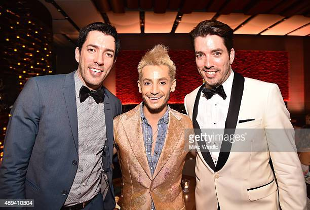 Personalities Drew Scott, Frankie J. Grande and Jonathan Silver Scott attend the AMC, BBC America, IFC And SundanceTV Emmy After Party at BOA...