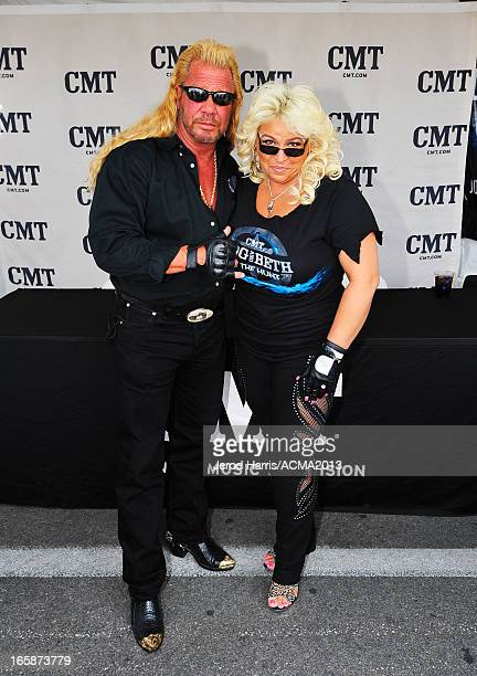 TV personalities Duane 'Dog' Chapman and Beth Chapman attend The ACM Experience during the 48th Annual Academy of Country Music Awards at the Orleans...