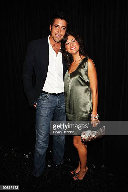 TV personalities Ed Swiderski and Jillian Harris pose at Venexiana Spring 2010 Fashion Show at Bryant Park on September 11 2009 in New York New York