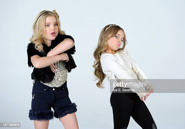 TV personalities Eden Wood and Isabella Barrett perform during Eden Wood and Isabella Barrett 'LOL' Music video shoot at Picture Ray Studios on...