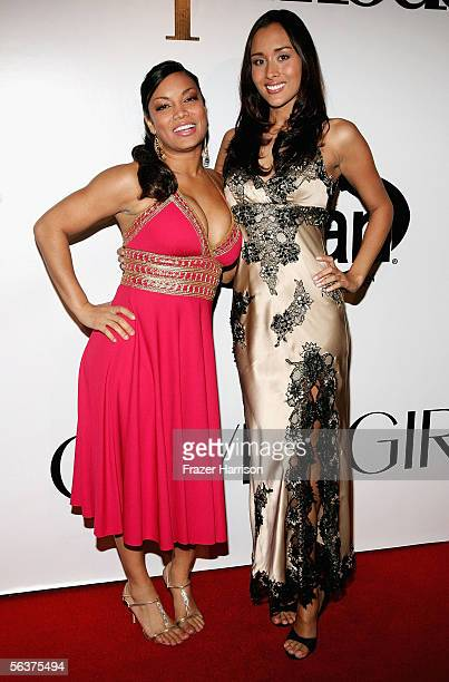Personalities Egypt Sherrod and April Wilkner arrive to America's Next Top Model Cycle 5 Finale Event held at the The Avalon on December 7 2005 in...