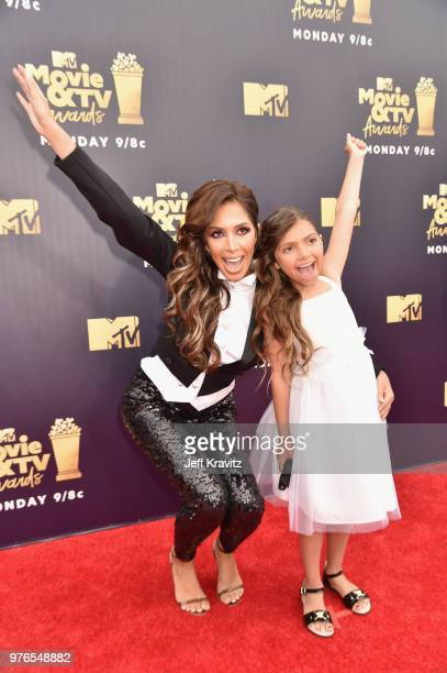 TV personalities Farrah Abraham and Sophia Abraham attend the 2018 MTV Movie And TV Awards at Barker Hangar on June 16 2018 in Santa Monica California