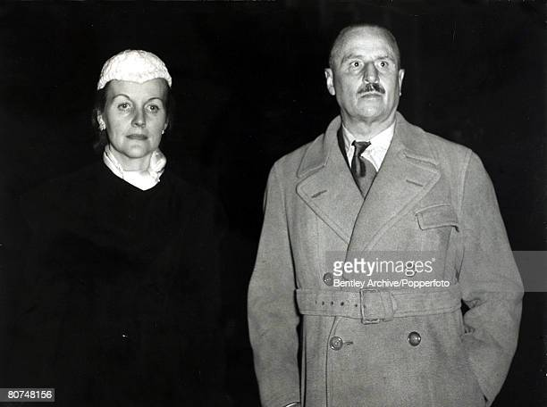 Personalities Fascism London England 10th February 1954 Sir Oswald Mosley and Lady Mosley pictured arriving in Bethnal Green London for a Union...