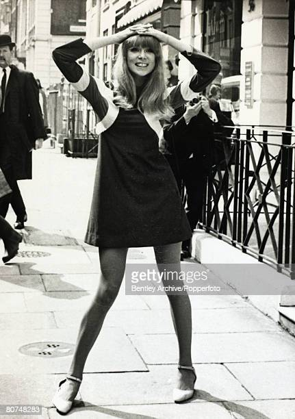 21st April 1966 British model Patti Boyd pictured in one of top designer Ossie Clark's creations a dress called Hoopla of brushed tricel with cut...