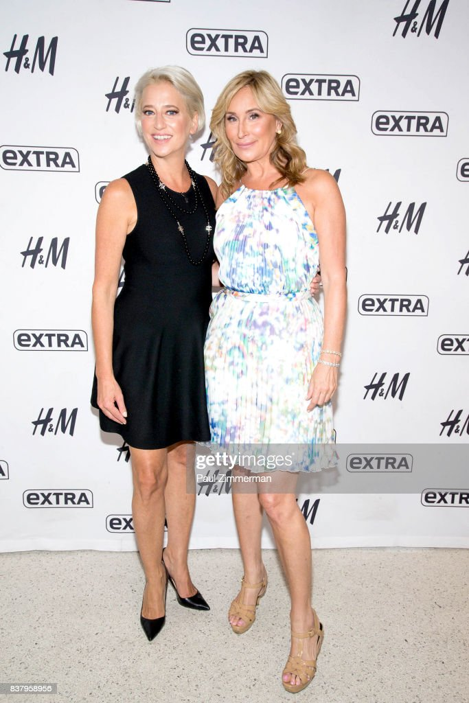 TV personalities from 'Real Housewives of New York' Dorinda Medley and Sonja Morgan visit 'Extra' at their New York studios at H&M in Times Square on August 23, 2017 in New York City.