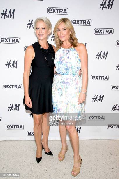 TV personalities from 'Real Housewives of New York' Dorinda Medley and Sonja Morgan visit 'Extra' at their New York studios at HM in Times Square on...