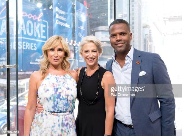 TV personalities from 'Real Housewives of New York' Sonja Morgan Dorinda Medley and AJ Calloway visit 'Extra' at their New York studios at HM in...