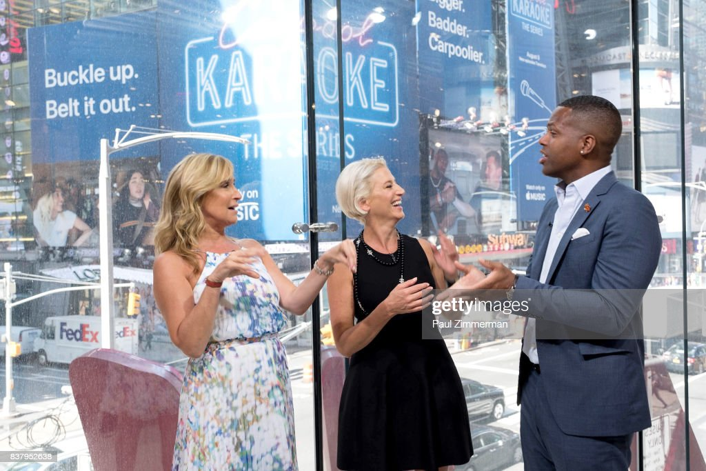 TV personalities from 'Real Housewives of New York' Sonja Morgan, Dorinda Medley and AJ Calloway visit 'Extra' at their New York studios at H&M in Times Square on August 23, 2017 in New York City.