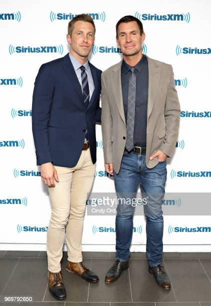 TV personalities Gage Edward and Jeff Lewis visit the SiriusXM Studios on June 8 2018 in New York City