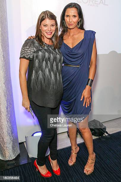 TV personalities Gail Simmons and Padma Lakshmi pose at the 6th annual SELF Magazine's Women Doing Good Awards at Apella on September 11 2013 in New...
