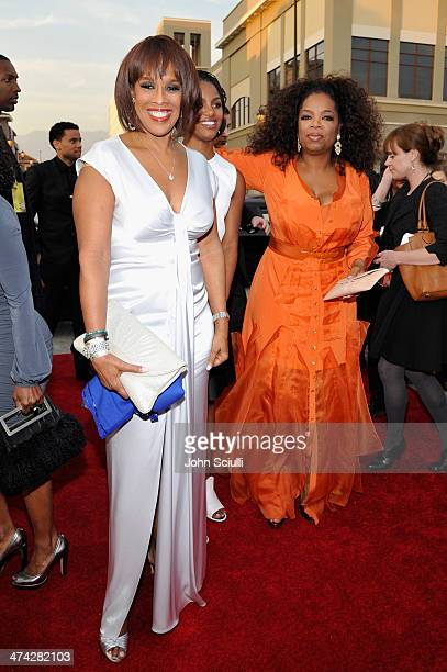 TV personalities Gayle King and Oprah Winfrey attend the 45th NAACP Image Awards presented by TV One at Pasadena Civic Auditorium on February 22 2014...