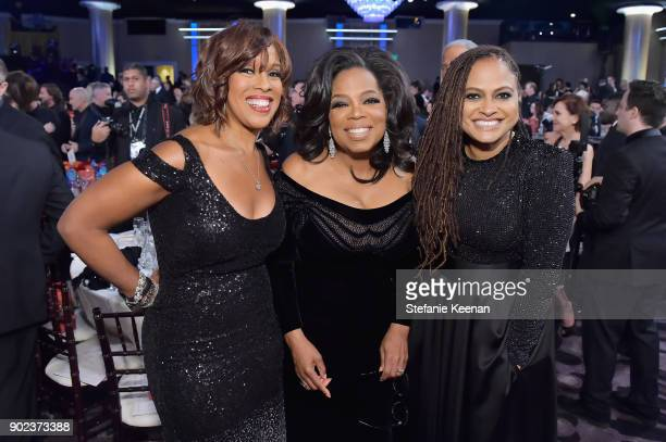 TV personalities Gayle King Oprah Winfrey and director Ava DuVernay attends The 75th Annual Golden Globe Awards at The Beverly Hilton Hotel on...