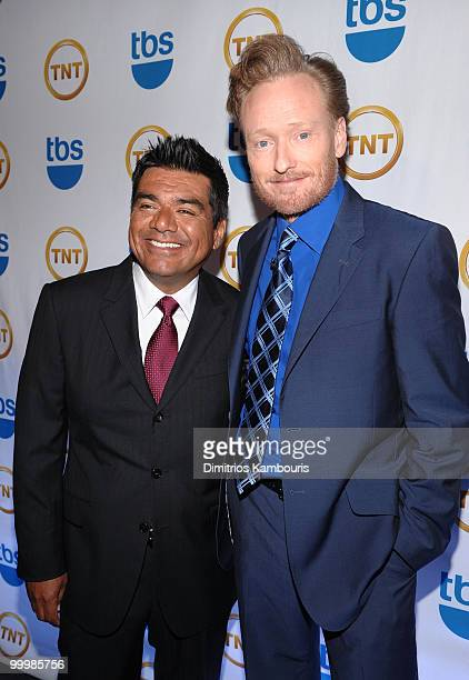 Personalities George Lopez and Conan O'Brien attend the TEN Upfront presentation at Hammerstein Ballroom on May 19 2010 in New York City...