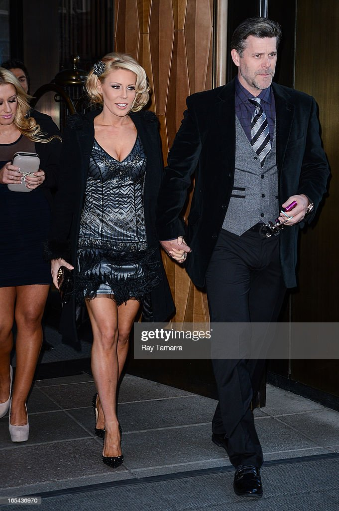TV personalities Gretchen Rossi (L) and Slade Smiley leave their Soho hotel on April 3, 2013 in New York City.