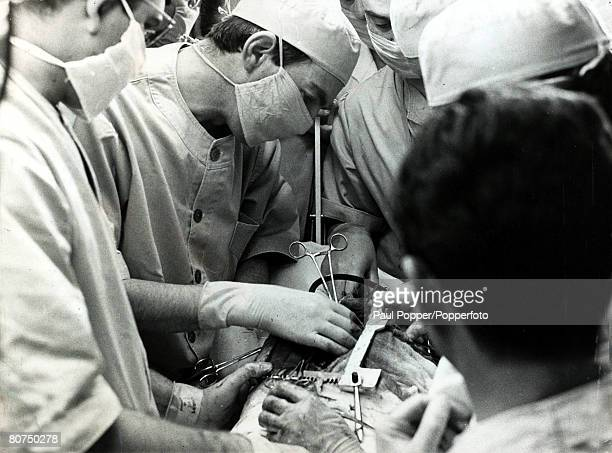 Personalities Health/ Heart Surgery pic circa 1970 Dr Christian Barnard performing an operation Christian Barnard found fame when as a pioneering...