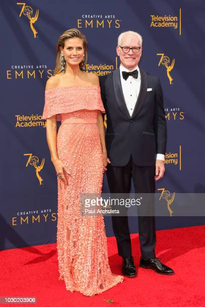 Personalities Heidi Klum and Tim Gunn attend the 2018 Creative Arts Emmy Awards Day 2 at the Microsoft Theater on September 9 2018 in Los Angeles...