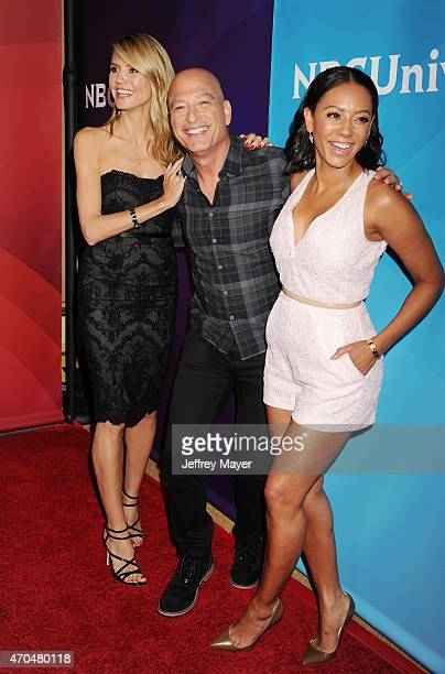 Personalities Heidi Klum, Howie Mandel and Mel B attend the 2015 NBCUniversal Summer Press Day held at the The Langham Huntington Hotel and Spa on...