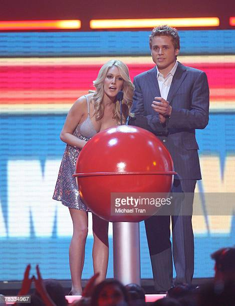 TV personalities Heidi Montag and Spencer Pratt speak at Spike TV's 2007 'Video Game Awards' at the Mandalay Bay Events Center on December 7 2007 in...
