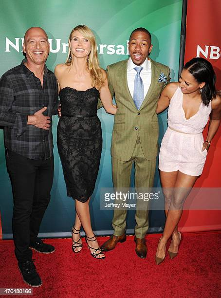 Personalities Howie Mandel, Heidi Klum, Nick Cannon and Mel B attend the 2015 NBCUniversal Summer Press Day held at the The Langham Huntington Hotel...