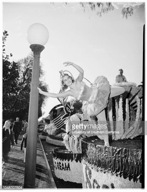 Personalities in and around Rose Parade 01 January 1952 Two girls on See's Candy float Barbara Fisher PrincessNina Warren aloneand with Nancy Thorne...